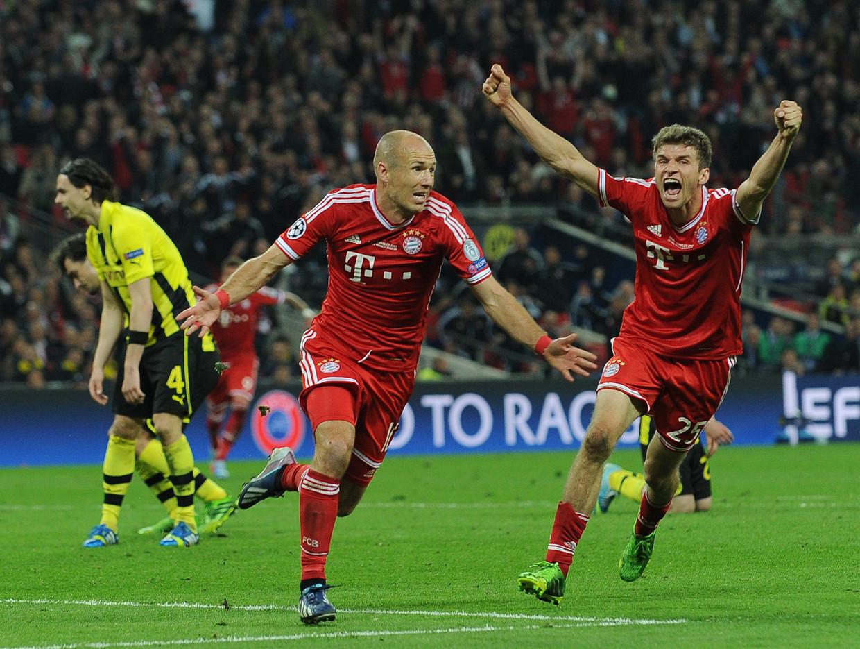 Robben maakt de winnende treffer in de Champions League-finale tegen Dortmund, in 2013.