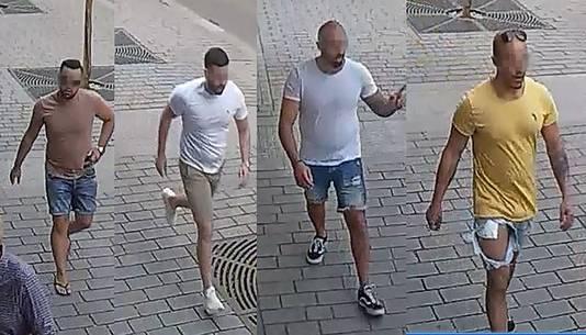 De politie in Tsjechië verspreidde beelden van de Nederlanders na de vechtpartij. Rechts: Armin N.