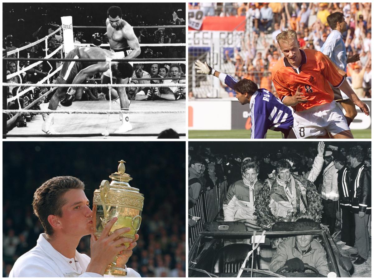 Nostalgische sportmomenten. Van links naar rechts en van boven naar beneden: Muhammed Ali tegen George Foreman, Dennis Bergkamp scoort in 1998, de Wimbledon-titel van Richard Krajicek en Elfstendetochtwinnaar Evert van Benthem.