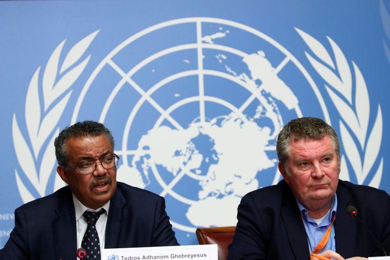 Directeur-generaal van de WHO Tedros Adhanom Ghebreyesus op de persconferentie van woensdagmiddag. Beeld REUTERS