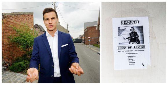Kamerlid Dries Van Langenhove dient klacht in tegen onbekenden nadat in de stationsbuurt van Gent Dampoort affiches zijn opgedoken met doodsbedreigingen.