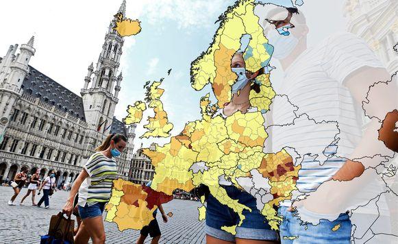 Brussel kleurt sinds gisteren donkeroranje op de coronakaart van het Europees Centrum voor Ziektepreventie en -bestrijding (ECDC).