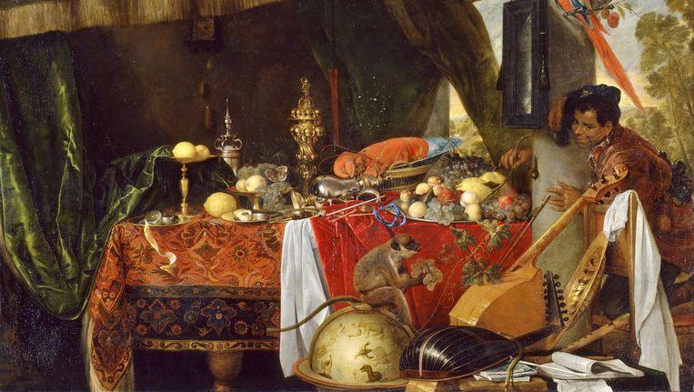 Jan de Heem, Stilleven met Moor en papegaai 1641). Beeld