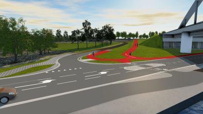 Wegen en Verkeer start met aanleg dubbelrichtingsfietspad Houtlaan: fietspad in asfalt, dat via een betonnen afscheiding afgeschermd is van de rijweg