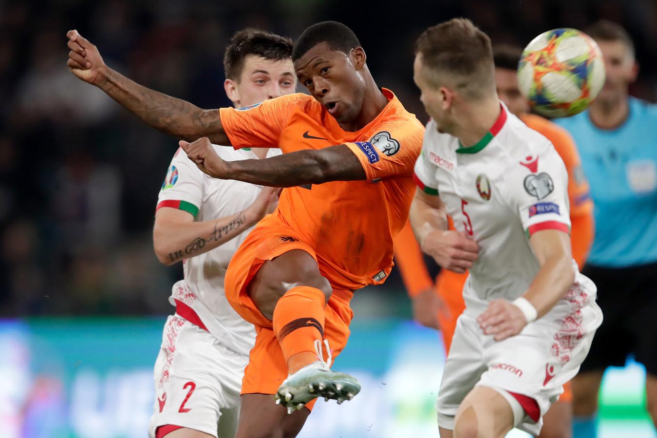 Georginio Wijnaldum was goud waard voor Oranje met zijn twee goals tegen Wit-Rusland.