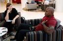 Carl Lewis met onze journaliste in Qatar Valerie Hardie