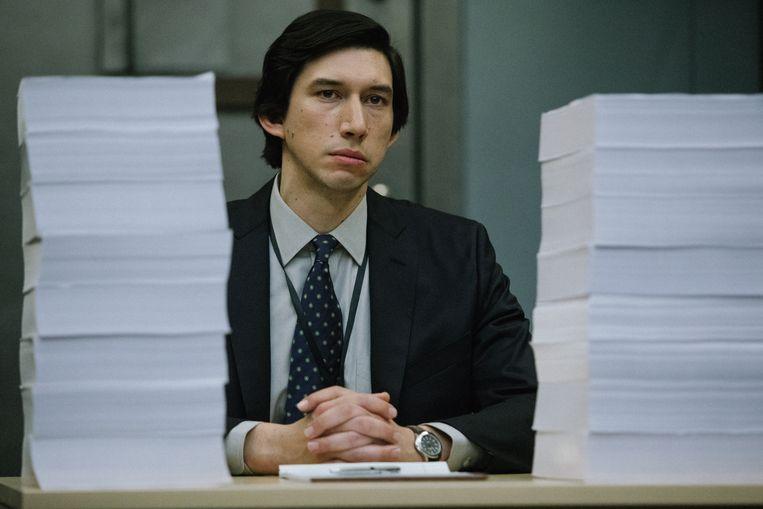 Adam Driver als Dan Jones, de klokkenluider die toegang had tot 6,5 miljoen pagina's aan gegevens. Hij las de gedetailleerde behandelingen van 191 terrorismeverdachten. Beeld