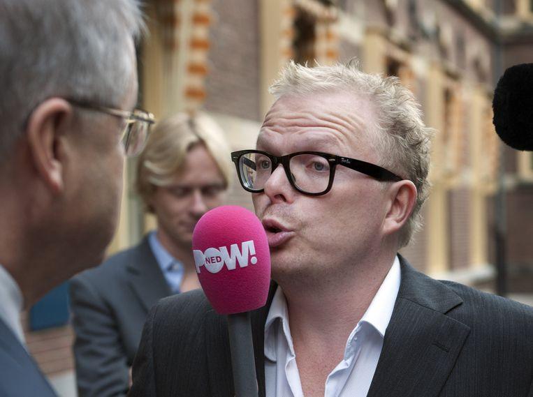 Jan Roos als verslaggever bij Powned. Die omroep verliet hij vorige maand om bij website GeenStijl aan de slag te gaan. Beeld anp