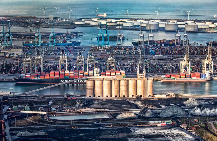 De Rotterdamse haven: op papier goed voor 9,1 miljard euro.  Beeld Raymond Rutting