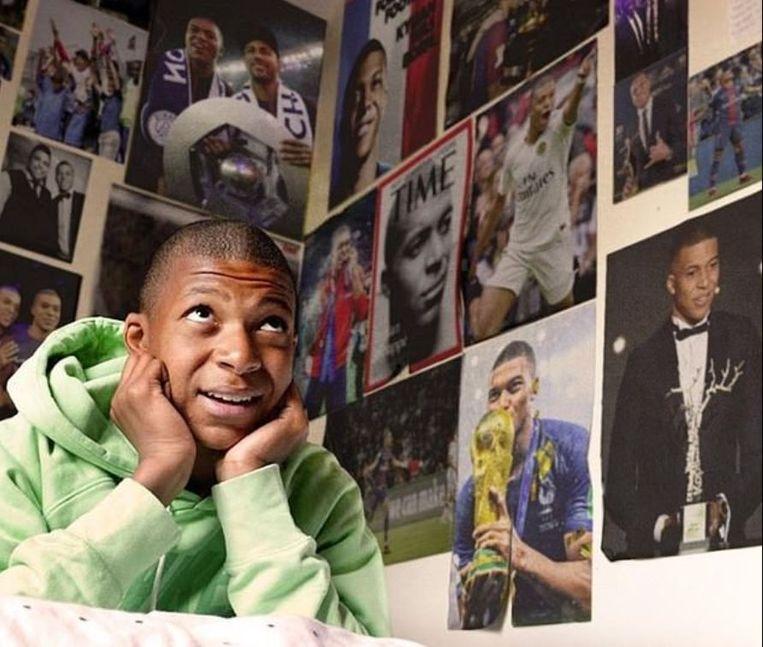 Mbappé deelde een bijgewerkte foto uit zijn jeugd.