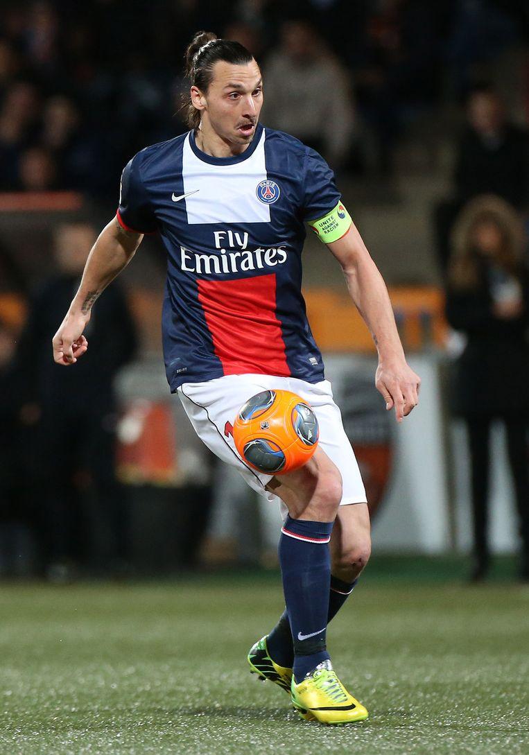 Zlatan Ibrahimovic van Paris Saint-Germain FC, bekostigd door Qatar. Beeld getty