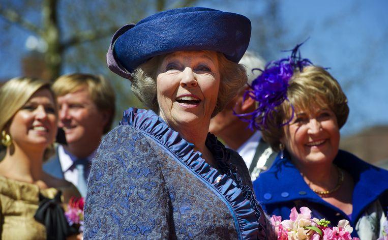 Koningin Beatrix, prinses Margriet, prinses Maxima en prins Willem-Alexander in Veenendaal. Beeld ANP
