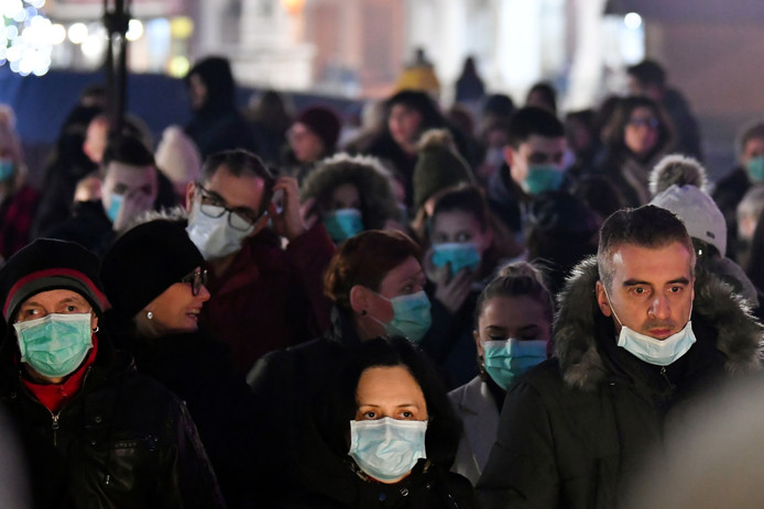 Manifestation contre la pollution de l'air, mercredi, à Tuzla, en Bosnie