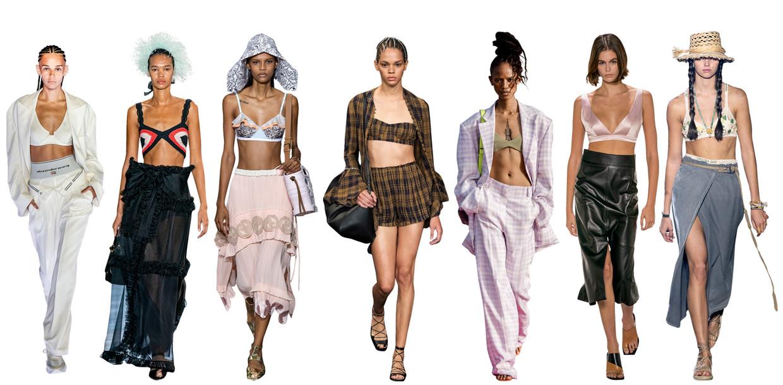 Vanaf links: Alexander Wang, Giambattista Valli, Lanvin, Khaite, Jacquemus, Givenchy, Christian Dior Beeld Imaxtree
