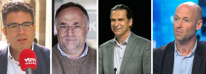 Virologen Steven Van Gucht en Marc Van Ranst, gezondheidseconoom Lieven Annemans en intenisivist Geert Meyfroidt.