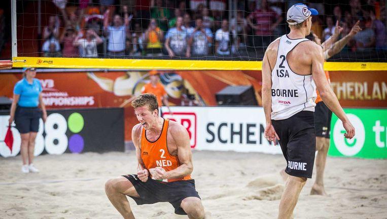 Christiaan Varenhorst juicht in de kwartfinale van donderdag. Beeld ANP