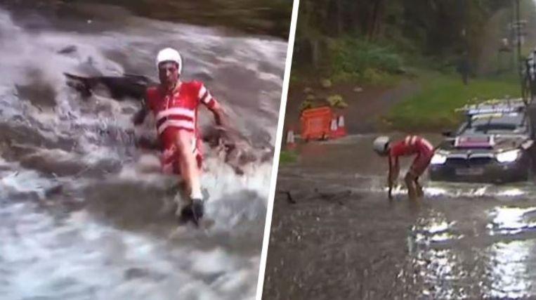 Price-Pejtersen kwam ten val in de tijdrit en moest zijn fiets daarna zoeken in het water.