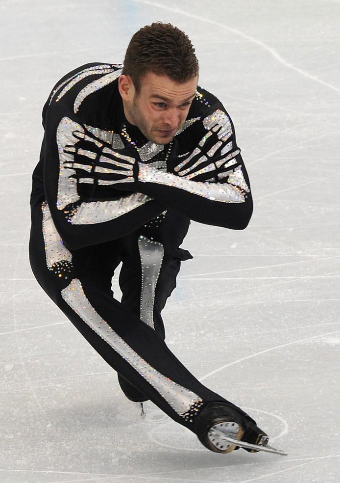 De Belg Kevin van der Perren tijdens de Olympische Spelen van 2010 in Vancouver.