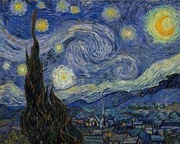 De Sterrennacht van Vincent van Gogh te zien op de expositie 'Van Gogh en de kleuren van de nacht', in 2009 in het Van Gogh Museum in Amsterdam.