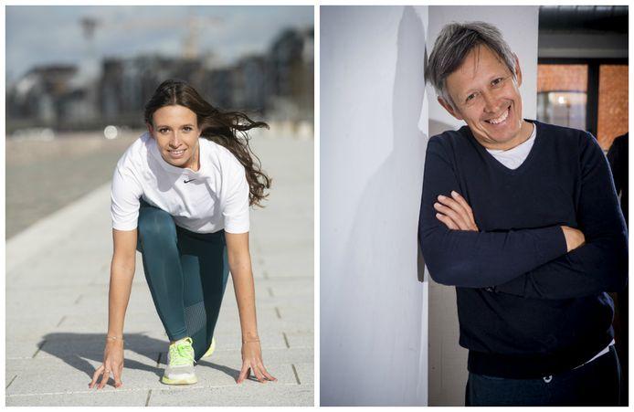 Angélique Maesschalck (links) bereidt zich samen met haar papa Lieven (rechts) voor op de halve marathon van Madrid.
