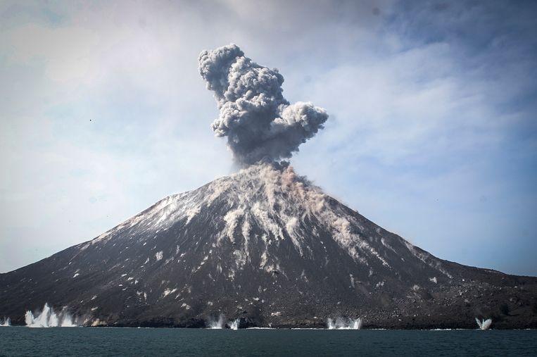 De vulkaan in juli van dit jaar.