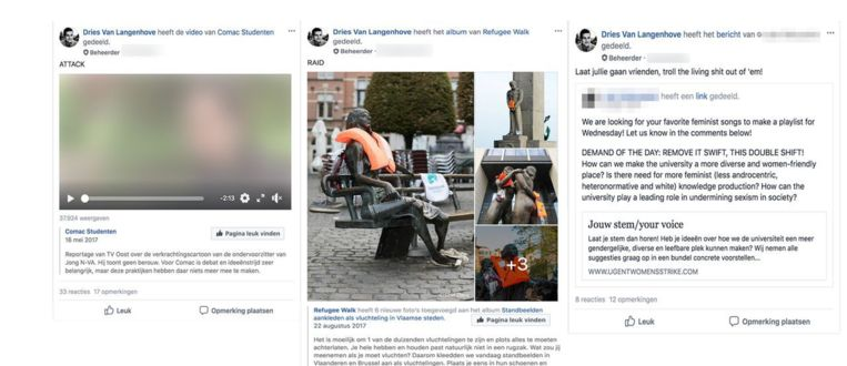 """Van Langenhove roept de leden van de Facebookgroep van Schild & Vrienden online op tot """"raids""""."""