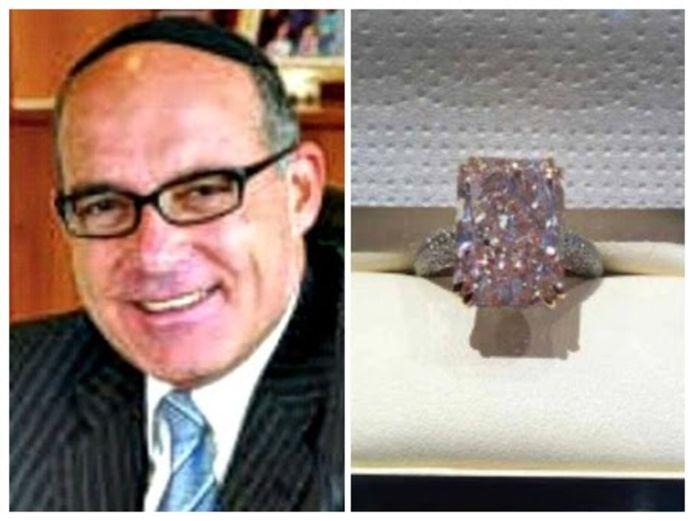 Diamantair en wapenhandelaar Serge Muller. De roze diamant van 1,2 miljoen euro.