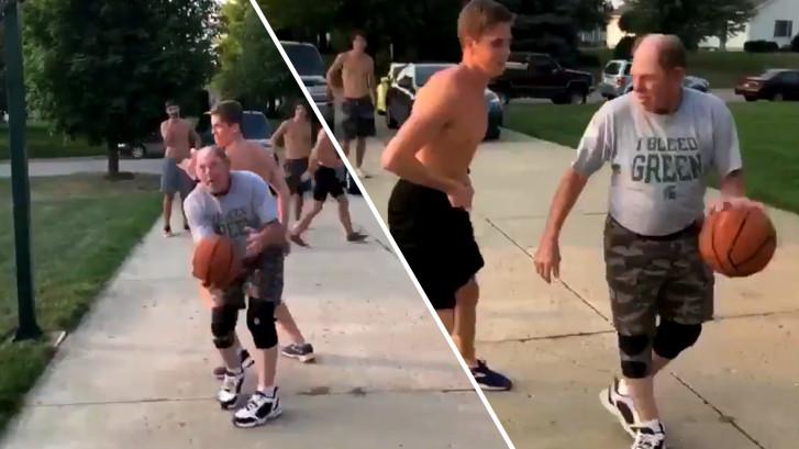Met deze geniale truc wint vader tijdens potje basketbal