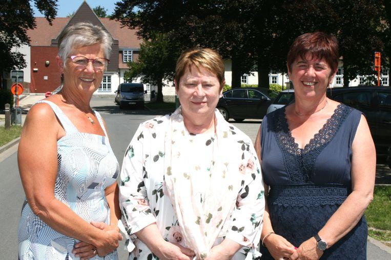 Afscheid personeel Mariagaard : Annemie De Praeter, Karine Caeckebeke en Erna De Keulenaere.