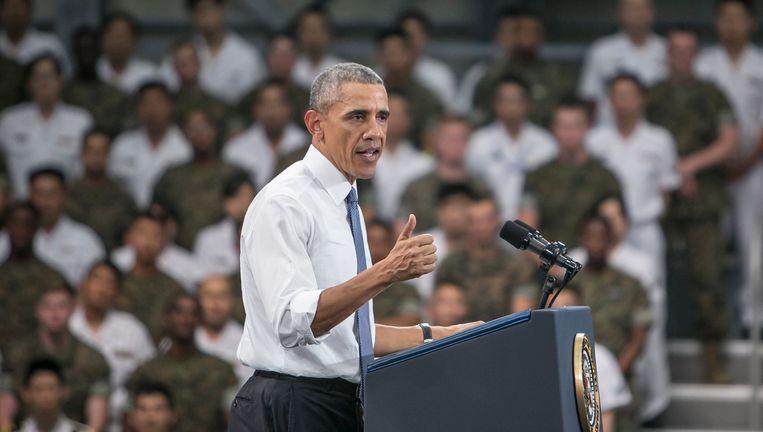 Eerder op de dag gaf Obama een speech voor Amerikaanse en Japanse militairen en hun gezinnen op de basis van Iwakuni.