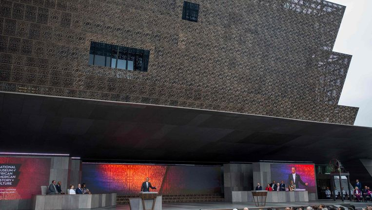 Exterieur van het National Museum of African American History and Culture. Beeld null