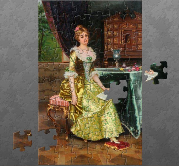 Puzzel van het schilderij 'Lady Holding a Book' van I. Sabatini. Beeld
