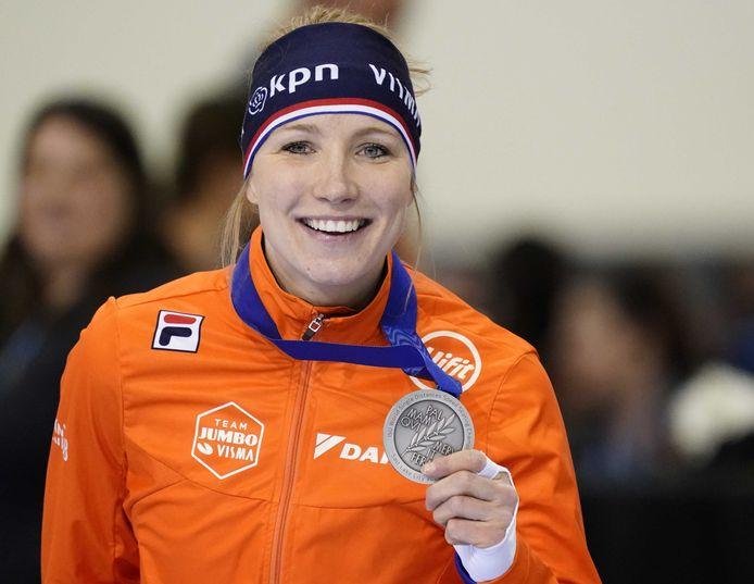 Carlijn Achtereekte pakte dit jaar nog zilver op de 3000 meter tijdens het WK afstanden schaatsen.
