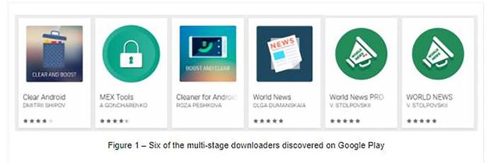 Enkele van de oplichtingsapps in de Google Play Store.