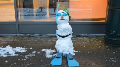 Zwemmende sneeuwman gespot aan zwembad De Kleine Dender
