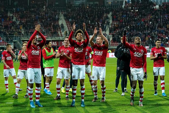AZ na de zege op Ajax (1-0) vlak voor de winterstop.