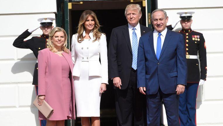 Donald Trump en premier Netanyahu en hun echtgenotes. Beeld afp