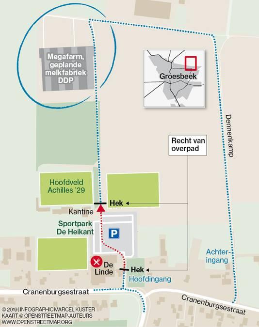 DDP is te bereiken via de Dennekamp (rechts) en heeft een recht van overpad over  het sportcomplex (rode stippellijn).