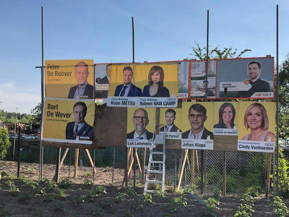 Situatie 4: N-VA hangt extra affiches waardoor het zicht van de CD&V-campagne terug belemmerd wordt.