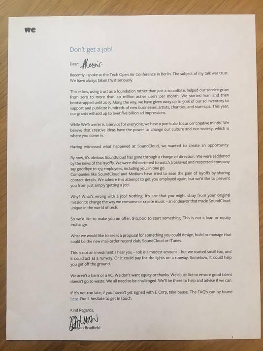 De brief die SoundCloud-werknemers kregen van WeTransfer