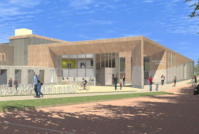Impressie van de entree van het nieuw te bouwen zwembad Valkenhuizen.