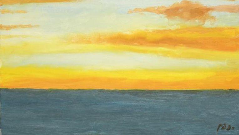 Avondzon boven zee van prins Bernhard. Beeld Veilinghuis Van Spengen