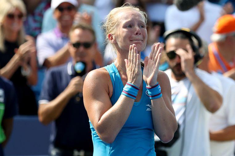Een emotionele Kiki Bertens na de winst op Simona Halep, de nummer één van de wereld.  Beeld Getty Images