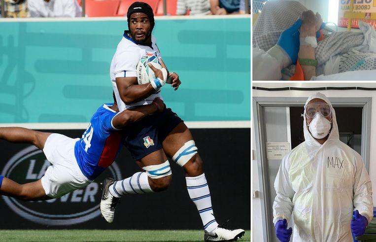 Maxime Mbanda, links als rugbyspeler, rechts als ambulancier.