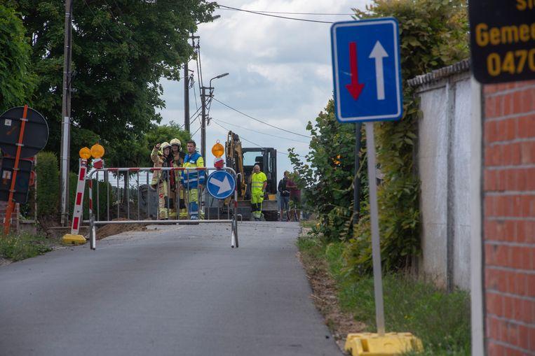 Bij werken werd een gasleiding in de Steenbergstraat in Wetteren geraakt.