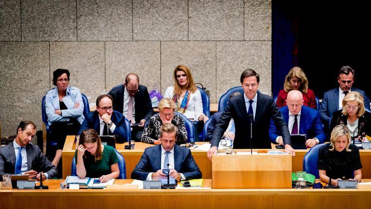 Premier Mark Rutte en de bewindslieden van het kabinet-Rutte III tijdens een plenair debat in de Tweede Kamer over de regeringsverklaring. Beeld ANP