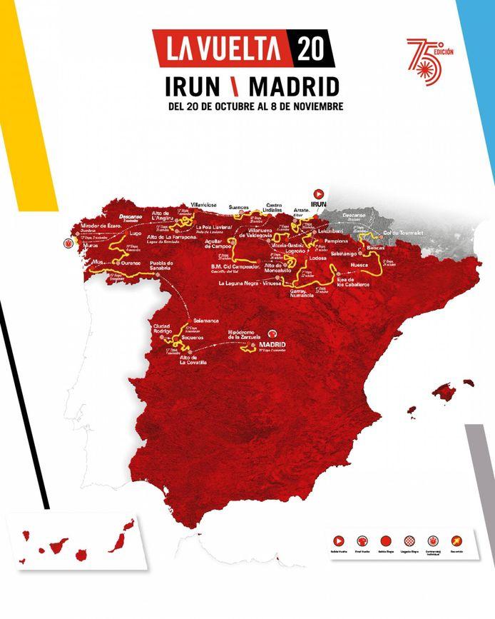 Het volledige parcours van de Vuelta.