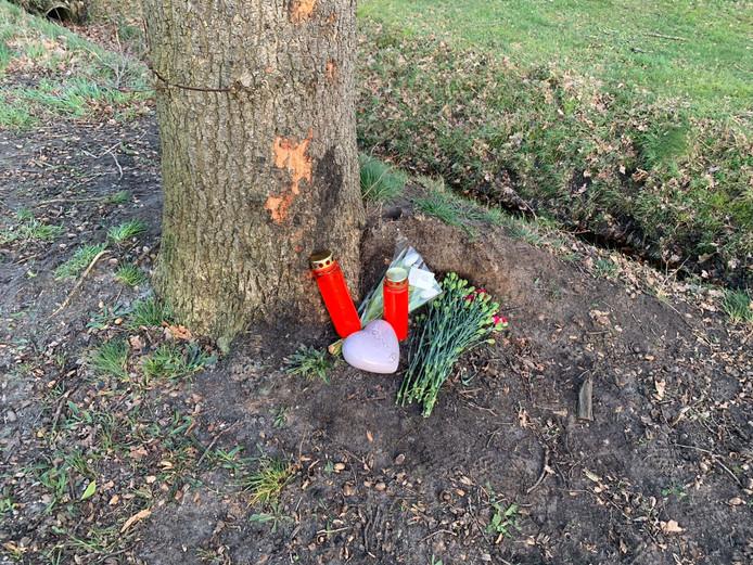 Kaarsjes en bloemen aan de Bovenlandweg in Vriezenveen voor verongelukte Jarmen (14).