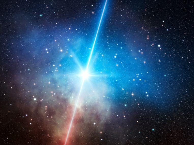 Artist impression van een exploderende ster.  Beeld ESO/L. Calçada