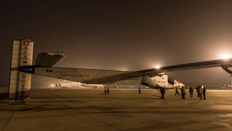Solar Impulse 2 vlak voor vertrek uit Nanjing. Beeld EPA